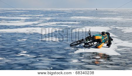 Touring Bike On The Frozen Lake