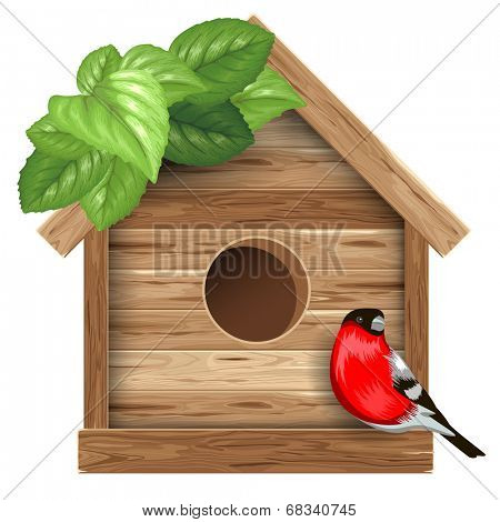 Wooden birdhouse with bird bullfinch and leaves