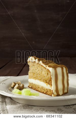 Melon Cake Slice With Textured Background