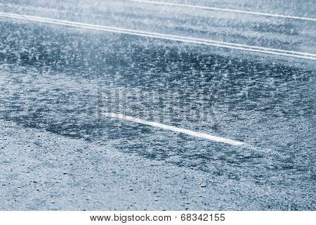 Heavy Rain On Street Road