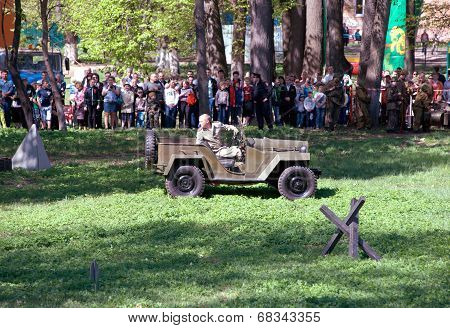 Driving Military Car