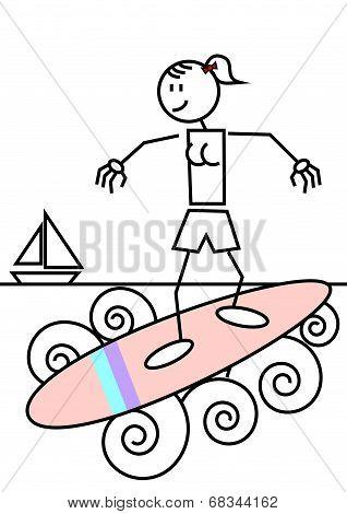 Stick Figure Surfing Female