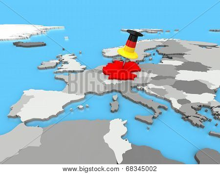 Germany Pinned To Map Of Europe