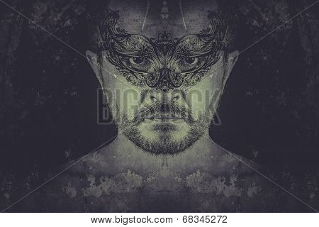 Man mystery. Artistic illustration over rusty wall, man with venetian mask