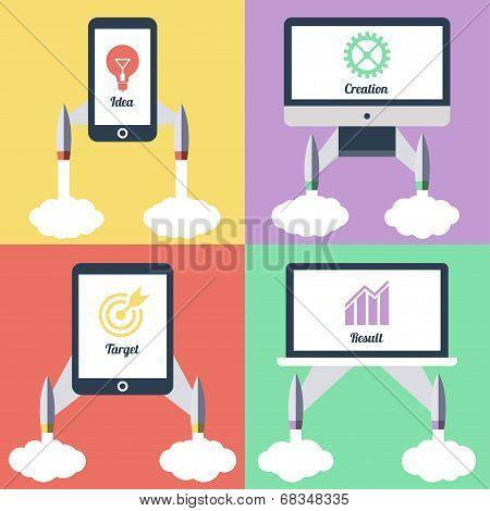 Flat design modern vector startup concept