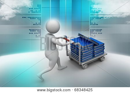 3d man carrying the file in trolley