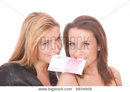 Happy Woman With 500 Euro Bill