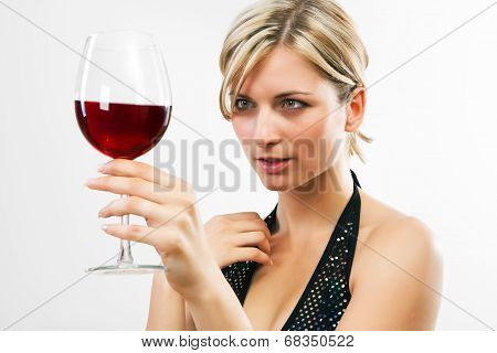 Young Woman Holding Red Wine