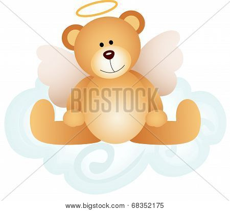 Angel teddy bear on cloud