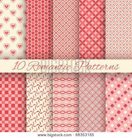 10 Romantic vector seamless patterns (tiling)