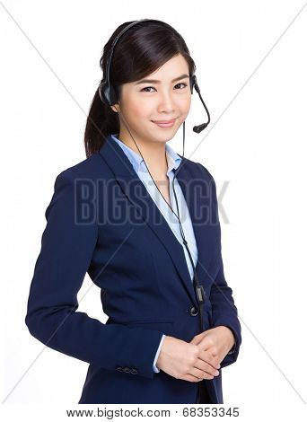 Telemarketing headset woman