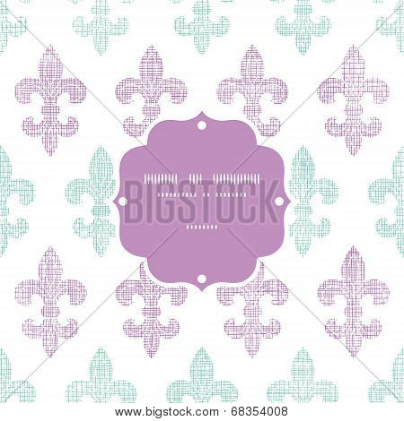 Abstract textile fleur de lis stripes frame seamless pattern background