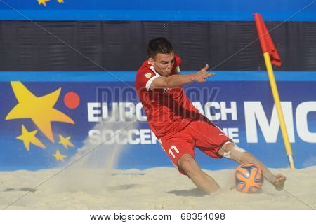 MOSCOW, RUSSIA - JULY 13, 2014: Aliaksandr Karpau of Belarus in the match with Greece during Moscow stage of Euro Beach Soccer League. Belarus won 6-5