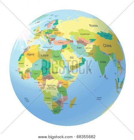 Globe with political world map isolated on white