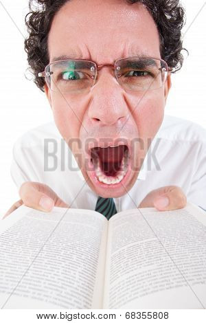 Angry Nerd In Shirt And Tie With Glasses Holding Open Book