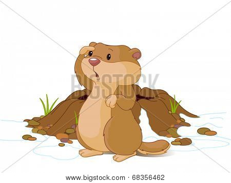 Illustration of groundhog near bunk looks into the distance.