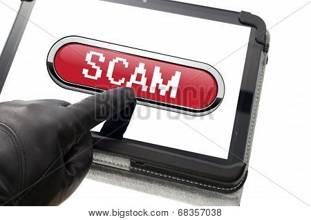Online Mobile Scamming Concept With Hand Wearing Black Glove Pointing A Touch Screen