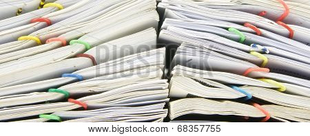 Close Up Stack Of Sales And Receipt