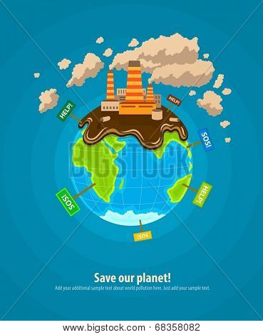 Ecology concept infographics template with world planet industrial ecocatastrophe. Eps10 vector illustration
