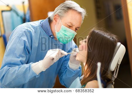Female patient having a dental treatment