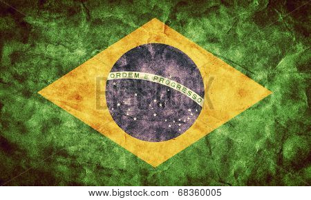 Brazil grunge flag. Vintage, retro style. High resolution, hd quality. Item from my grunge flags collection.
