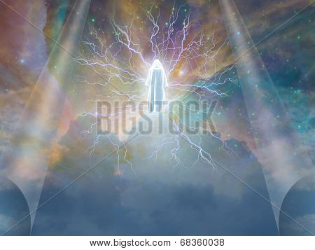 Figure radiates electricity in heavens Elements of this image furnished by NASA