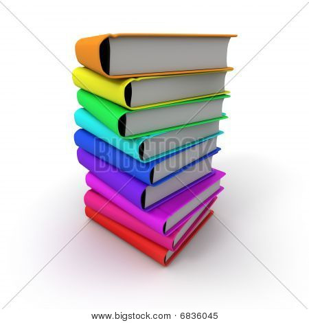 Pile Of Multicoloured Books