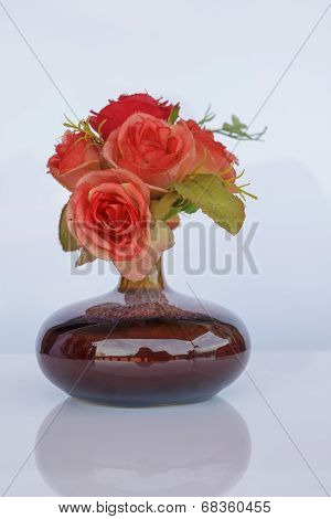 Bouquet Of Flowers In Vase Isolated On White Background