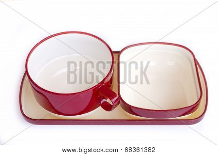 Empty Red Cup Of Coffee Isolated On White Background