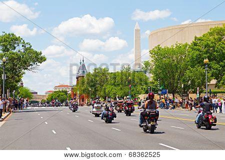 Rolling Thunder motorbikes rally in Washington DC.