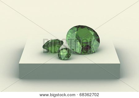 Peridot  On White Podium
