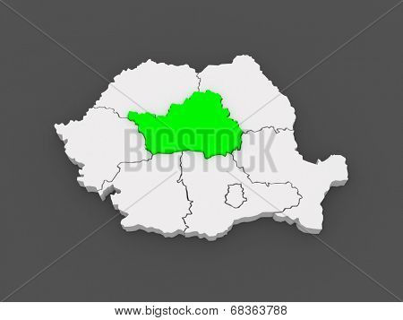 Map of Central Region Development Romania. 3d