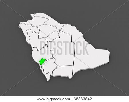 Map of Al-Baha. Saudi Arabia. 3d
