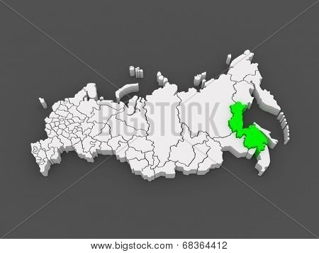 Map of the Russian Federation. Khabarovsk Krai. 3d
