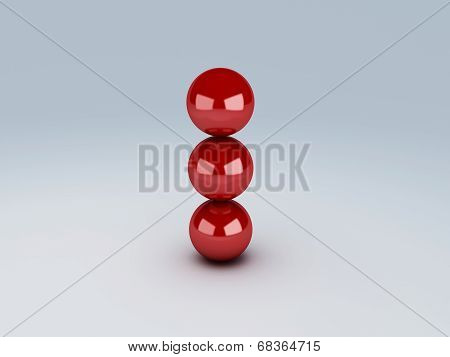 red spheres in equilibrium. balance concept
