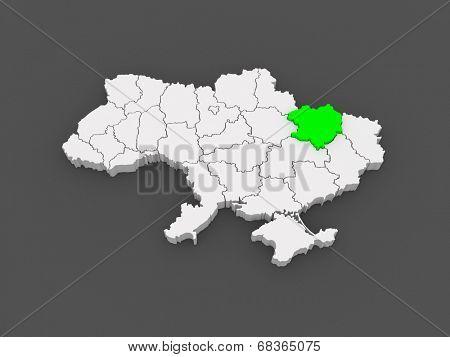 Map of Kharkov region. Ukraine. 3d