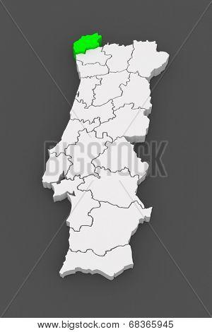 Map of Viana do Castelo. Portugal. 3d