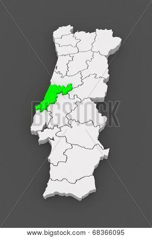 Map of Leiria. Portugal. 3d