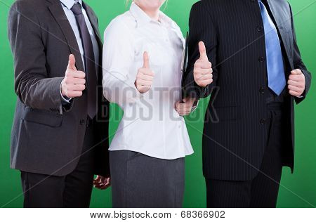 Workers Showing Okay Gesture