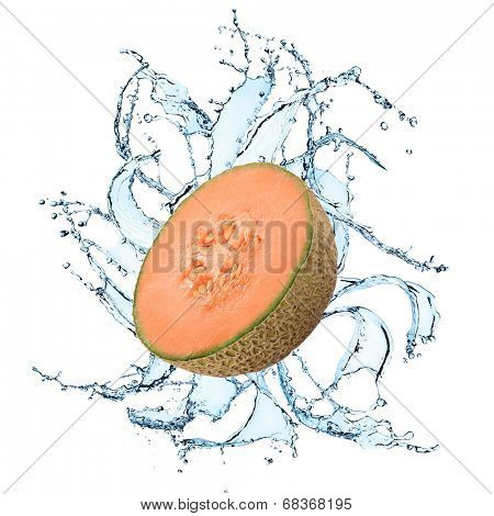 Fresh cantaloupe melon with water splash over white background