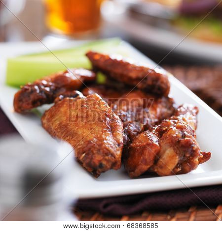 plate of barbecue chicken wings