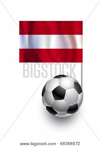 Illustration Of Soccer Balls Or Footballs With  Pennant Flag Of Austria  Country Team