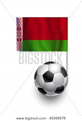 Illustration Of Soccer Balls Or Footballs With  Pennant Flag Of Belarus  Country Team