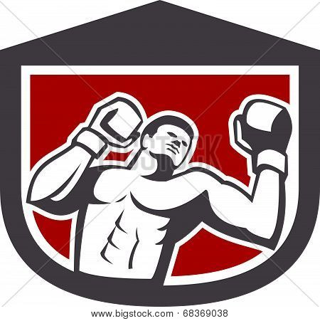 Boxer Punching Boxing Shield Retro