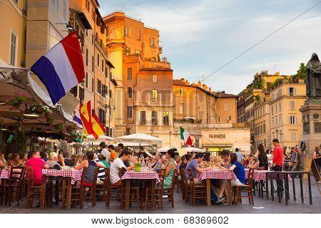 Piazza Campo De Fiori in Rome, Italy.