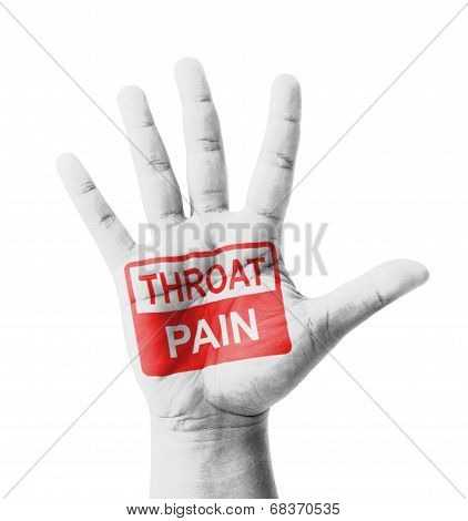 Open Hand Raised, Throat Pain Sign Painted, Multi Purpose Concept - Isolated On White Background