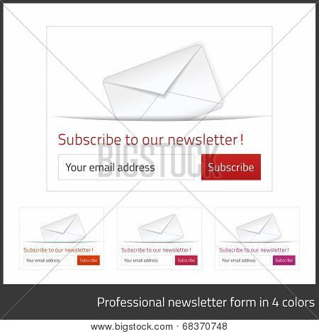Light Subscribe To Newsletter Form With White Background And Button In 4 Warm Tones