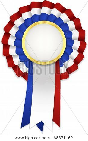 Tricolor rosette with blue white and red ribbon