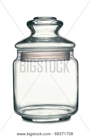 Empty storage glass jar isolated on white