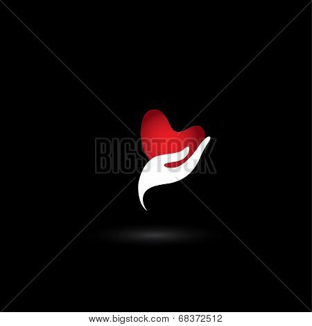 Heart Shape Love Icon In A Girls Hand - Concept Vector Of Love